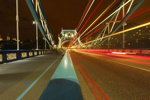 Tower Bridge, Londyn, Path, Light, The Movement Of The