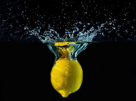 Lemon, Water, Drops, Movement, Colors, šplouchanec