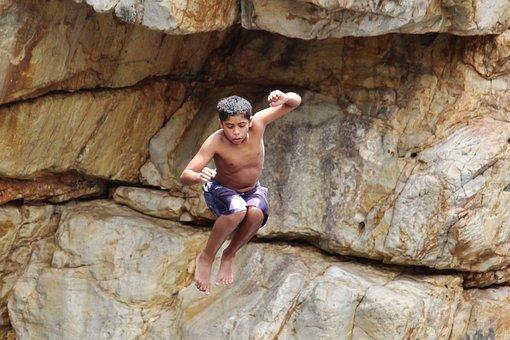 Rock, Jump, Children, Courageous, Water, River, Dared