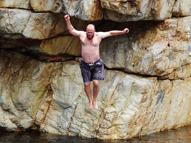 Rock, Jump, Courageous, Water, River, Dared, Courage