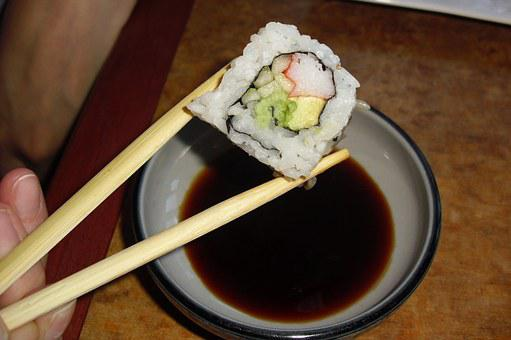 Sushi, Japanese, Chopsticks, Soy, Sauce, Seafood, Roll