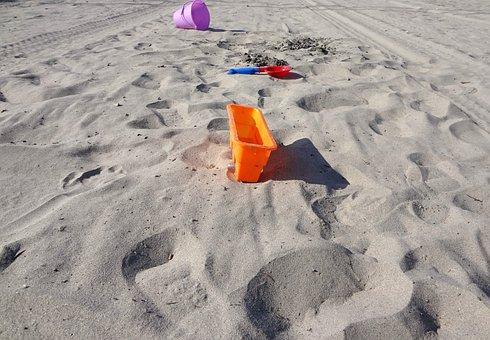 Toys, Sand, Beach, Pail, Bucket, Shovel, Dig, Sand Toys