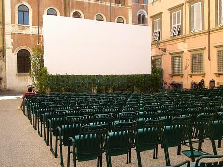 Cinema, Film, White Cloth, Chairs, Projection, Show