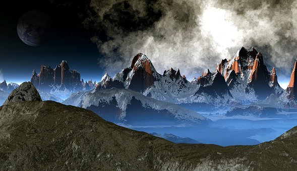 Mountains, Moon, Earth, Space, Universe, Astronomy
