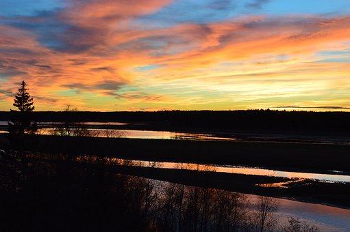 Sunset, Burning, Himmel, Water, Cloud, Mirroring