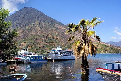 Lake Atitlán, Guatemala, Volcano, Boat