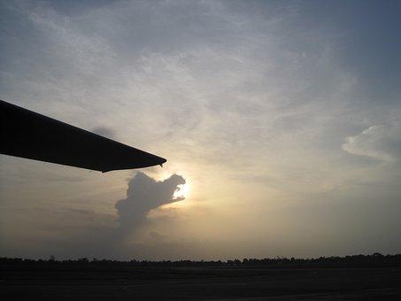 Burundi Africa, Aircraft Wing, Bright Sky, Clouds