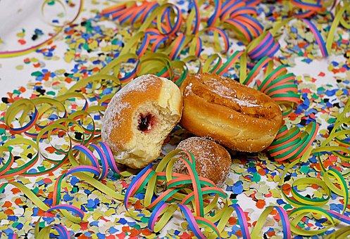Donut, Baked Goods, Carnival, Streamer, Confetti