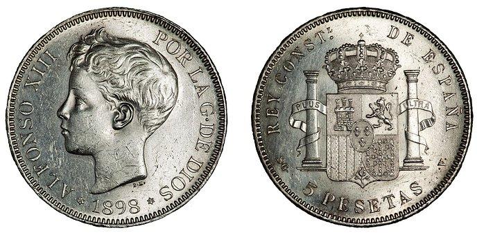 Coins, Money, Spanish, Pesetas, Finance, Cash, Currency