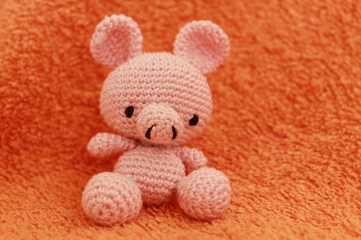 Crochet, Pig, Toy, Crocheted, Knitted, Animal, Cotton