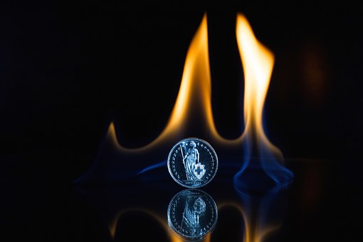 Fire, Flame, Coin, Finance, Currency, Switzerland