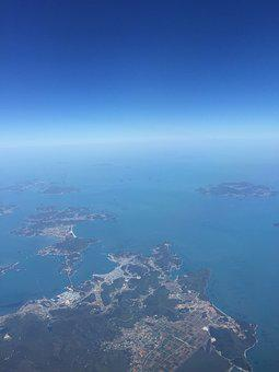 Aerial Photo, Jeju, Sky, Flight, Island, Ocean