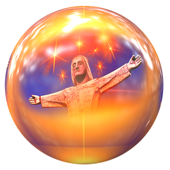 Jesus, Statue, Ball, Round, Figure, Sculpture, Metal