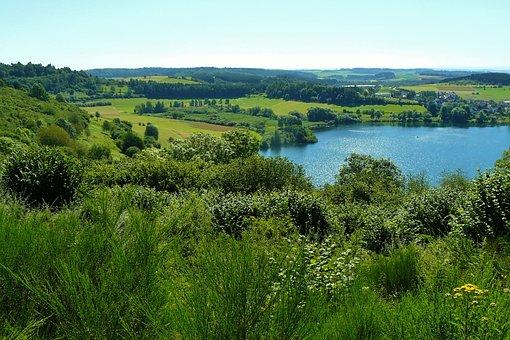 Lake, Waters, Maar, Eifel, Eifelsteig, Seascape, Water
