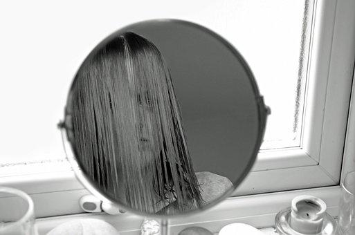 Female, Look, People, Mirror, Dissatisfaction, Black