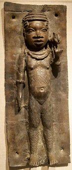 Girl, Leopard, Plaque, Bronzes, Nigeria, Court, Benin