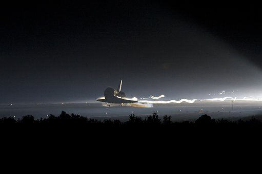 Atlantis, Space Shuttle, Landing, Night, Evening