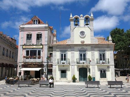 Cascais, Portugal, Building, Road, Pattern, Bench, Bank