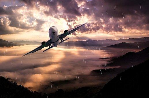 Aircraft, Flight, Landscape, Clouds, Rain, Lighting