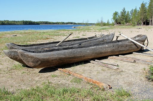 Dugout Boats, Finland, Landscape, River, Water, Forest