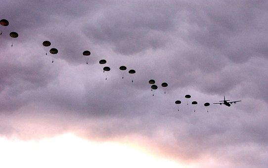 Australia, Sky, Clouds, Australian Parachutists