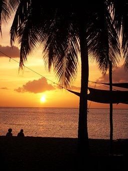 Sunset, Beach, Guadeloupe, Sun, Sky, Red, Orange