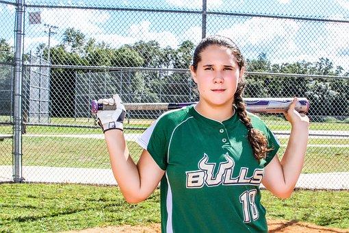 Softball, Teen, Teenager, Female, Player, Girl, Field
