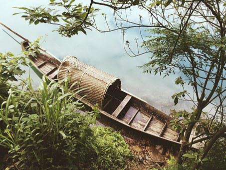 Wooden Boat, China Wind, Beautiful, The Scenery, River