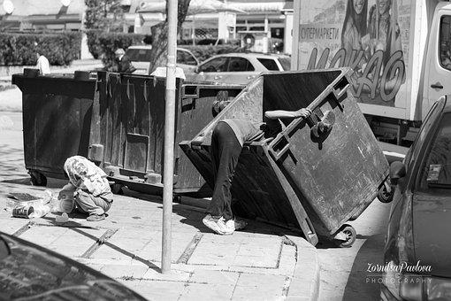 Hobo, Roma, Gypsies, Container, Trash, Poverty