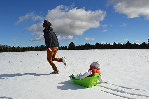 Woman, Child, Baby, Snow, Clouds, White, Fun, Happy