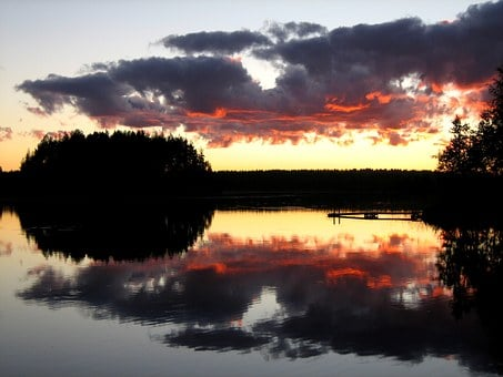 Lake, Afterglow, Clouds In The Evening, Reddish Clouds