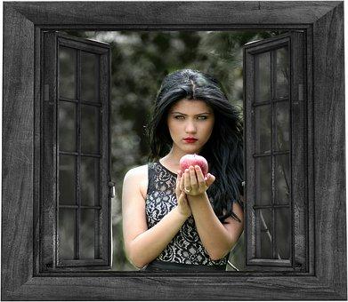 Girl, Window, Outside, Apple, Snow White, Fairy Tale