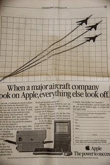 Newspaper, Advert, Advertisement, Vintage, Apple, Brand