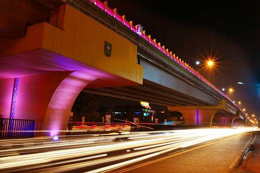 Light, Bridge, Flyover, Architecture, City, Night
