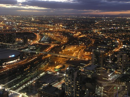 Melbourne, Night, Cityscape, View, Lights, City Lights