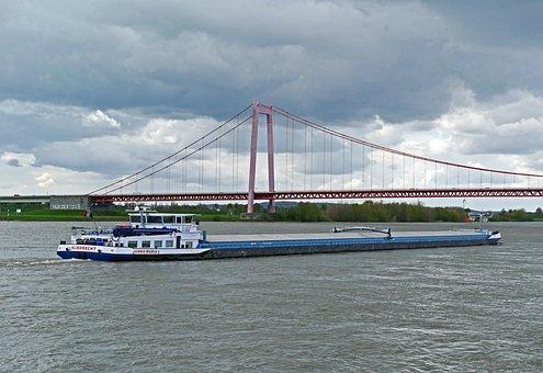 Niederrhein, Shipping, Suspension Bridge, Emmerich