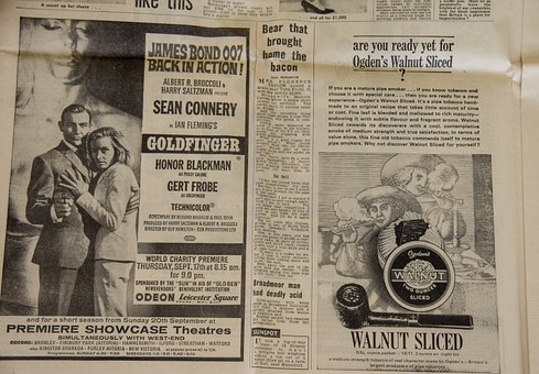 Newspaper, Adverts, Advertisement, Vintage, Goldfinger