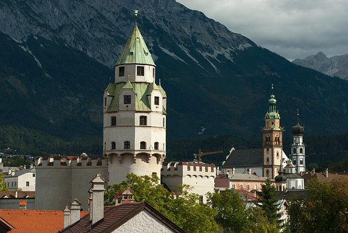 Halle In Tirol, Austria, Mountains, Sky, Clouds, Church