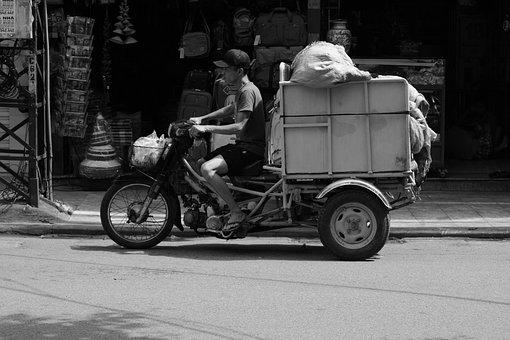 Vietnam, Moped, Transport, Goods, Human, Trade, Traffic