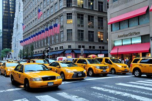 Manhattan, Taxis, 5th Avenue, Fifth Avenue, Street