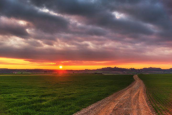 Sunset, Red, Clouds, Sky, Sun, Landscape, Reddish