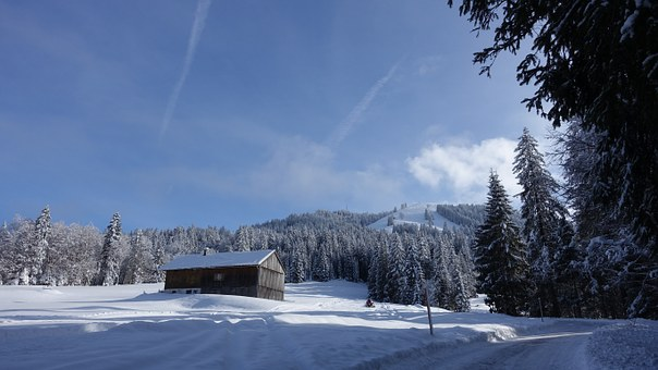 Winter, Ski Lodge, Snow, Sun, Hut, Wintry, Snowy