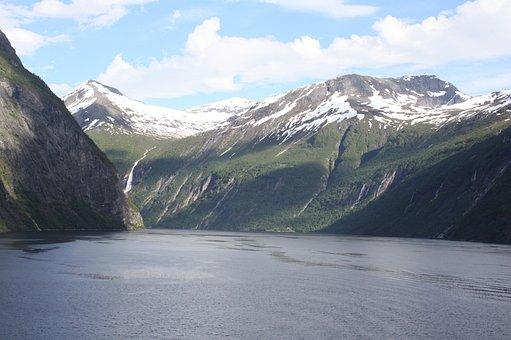 Geirangerfjord, Snowy Mountains, Water, Norway, Fjord