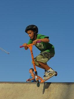 Scooter, Kid, Stunt, Jumping, Half Pipe, Jump, Sport