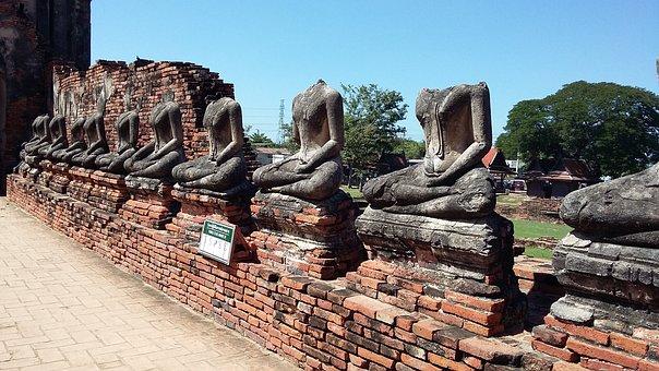 Ayutthaya, Thailand, Old City, Statues, Lotus Sitting
