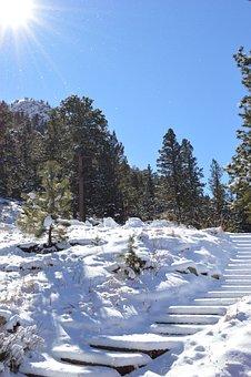 Snow, Steps, Stairs, Sunshine, Colorado, Winter