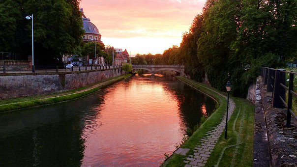 Strasbourg, France, Sunset, River, Canal, Water