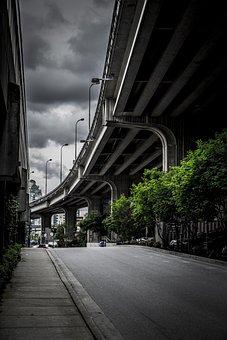Highway, Vancouver, Street, Georgia Viaduct, Clouds