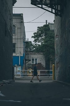 Scene, Alley, Street, City, Cityscape, Composition