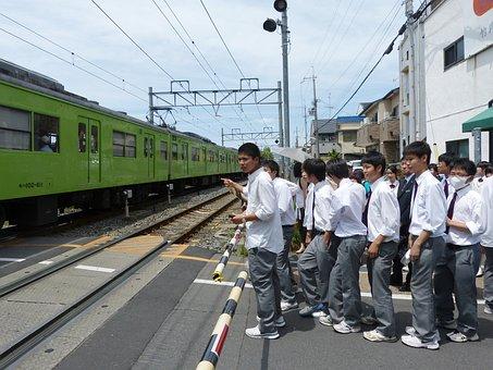 Japanese, Boys, Students, Waiting, Uniform, Halt